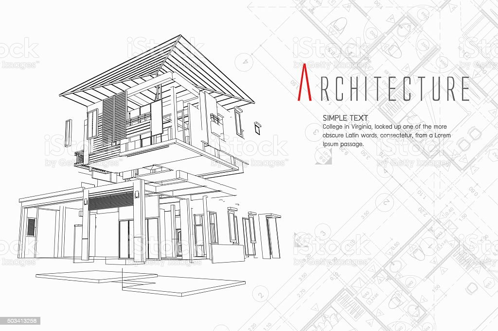 Exploded view of a building vector art illustration