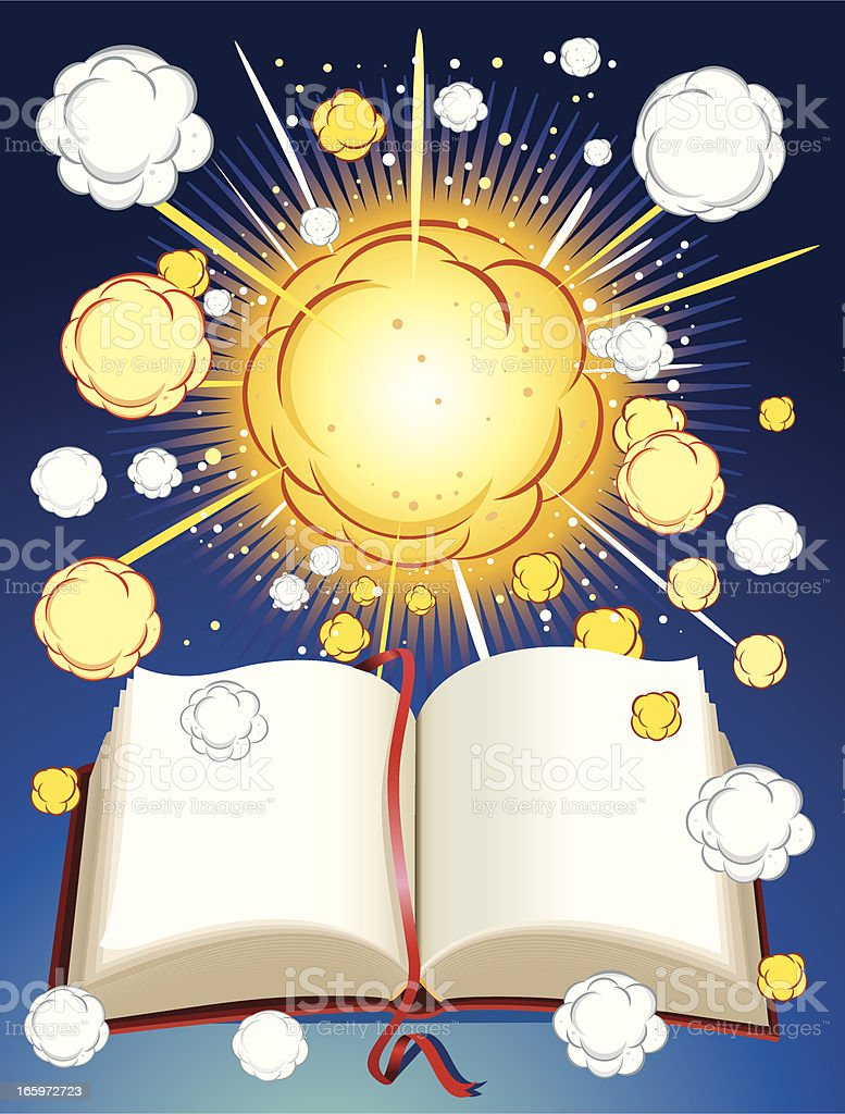 Exploding and book vector art illustration