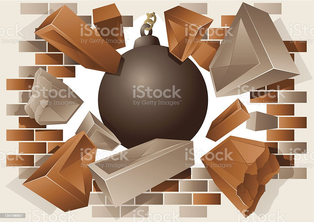 Exploding brick wall and wrecking ball vector art illustration