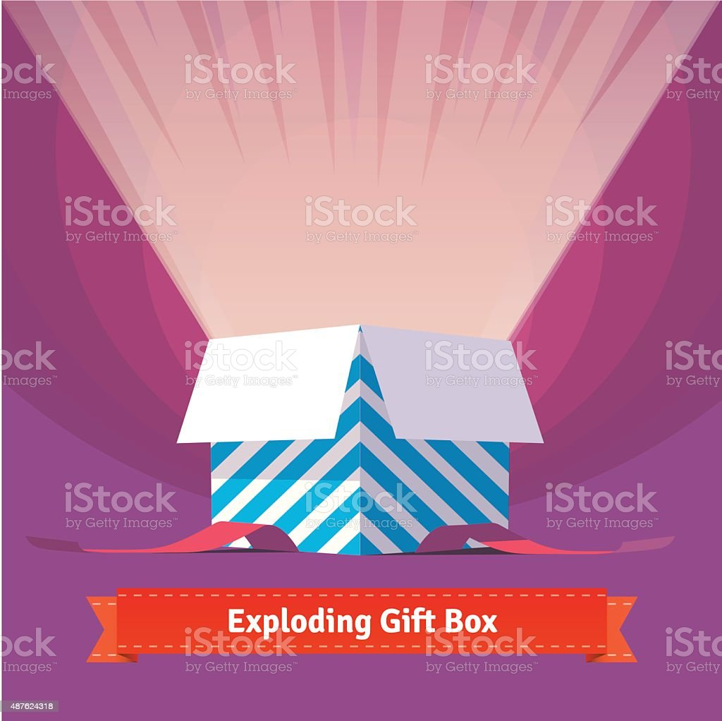 Exploding celebration gift box vector art illustration