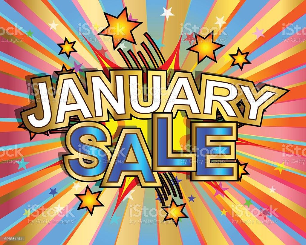 Exploding January Sale vector art illustration