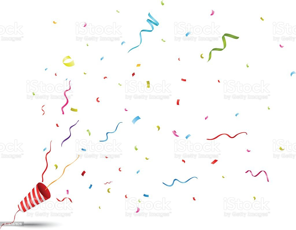 Exploding party popper vector art illustration