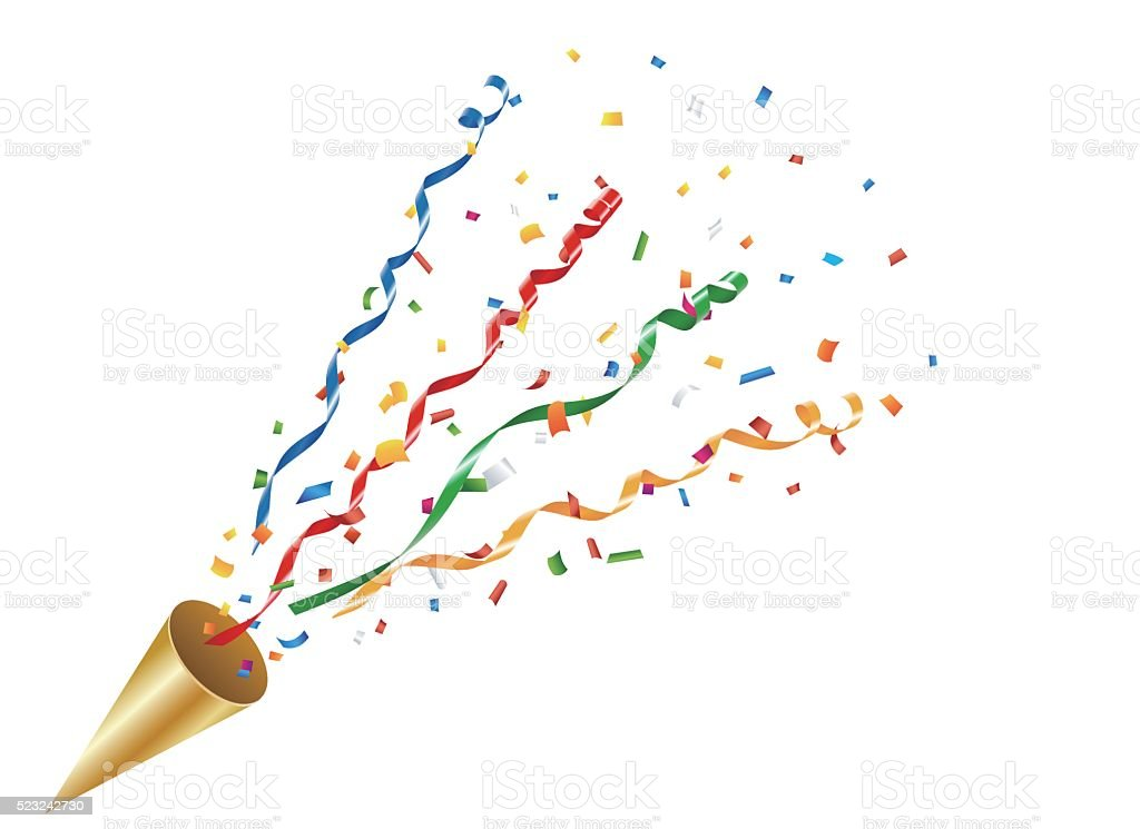 Exploding party popper with confetti and streamer vector art illustration