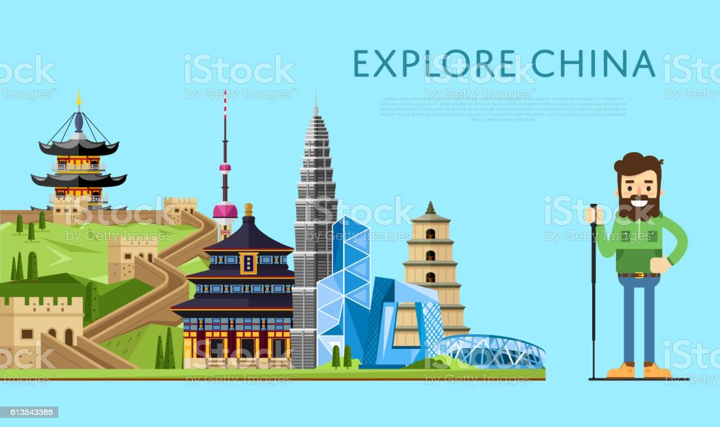 Explore China banner with smiling tourist vector art illustration