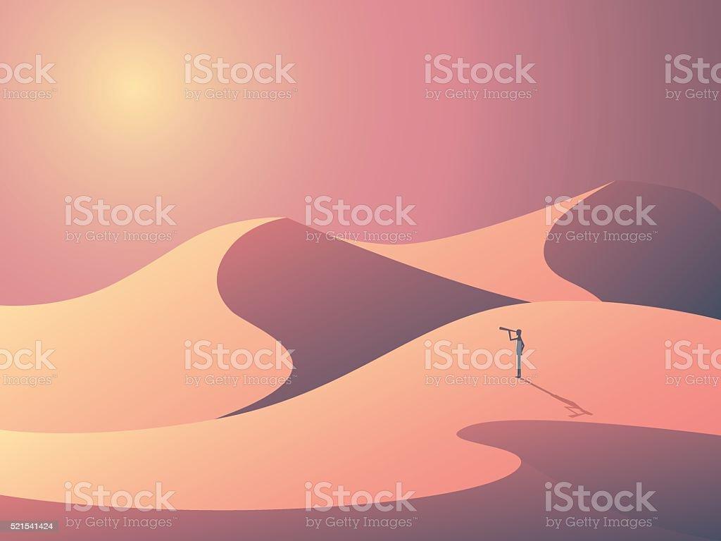 Explorer in sand dunes on a desert. Landscape vector illustration vector art illustration