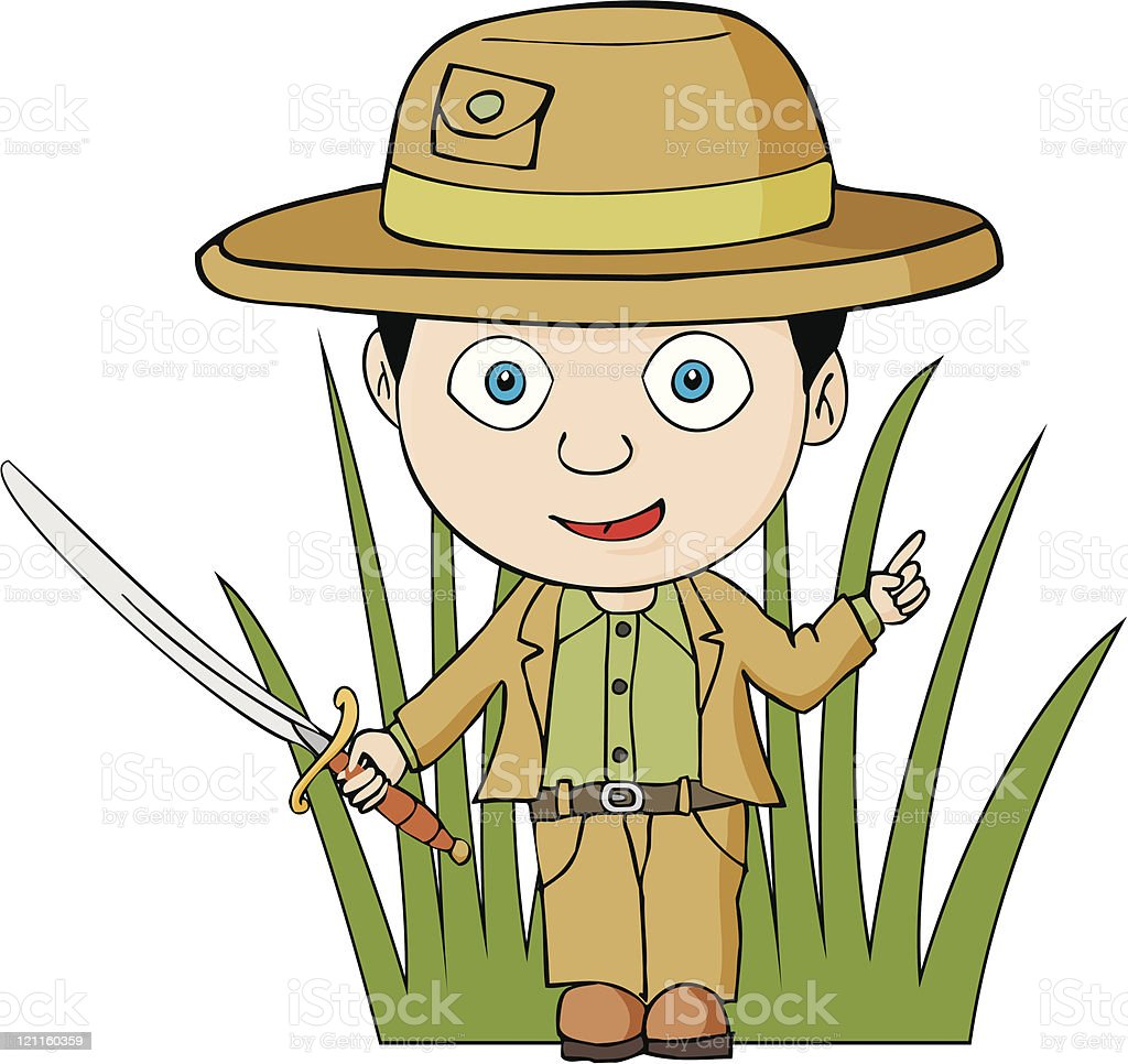 Explorer with sabre and pith helmet vector art illustration