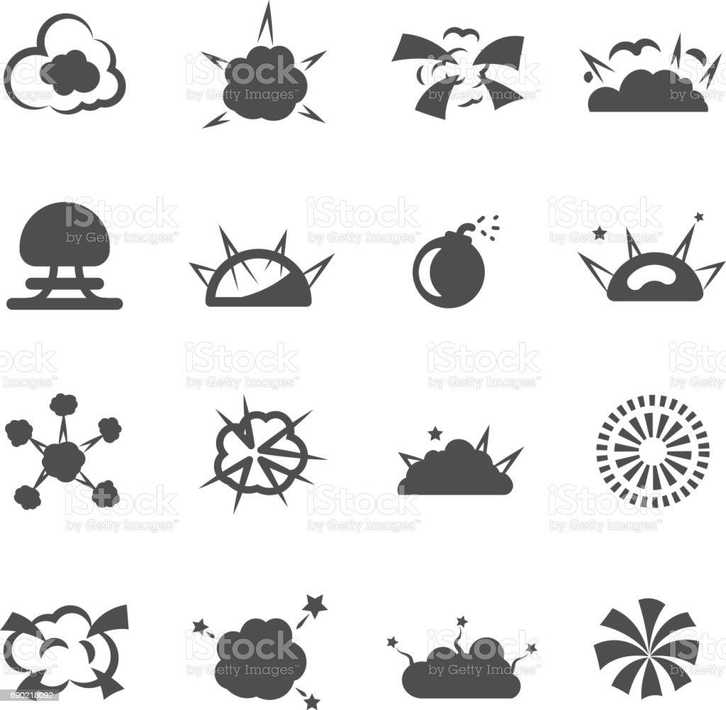 explosion bomb smoke destruction icon set vector vector art illustration
