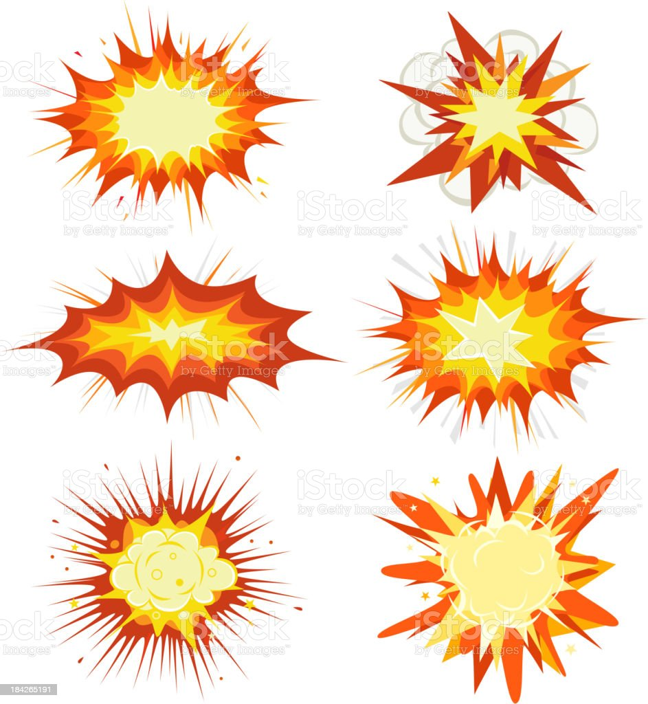 Explosion, Bombs And Blast Set vector art illustration