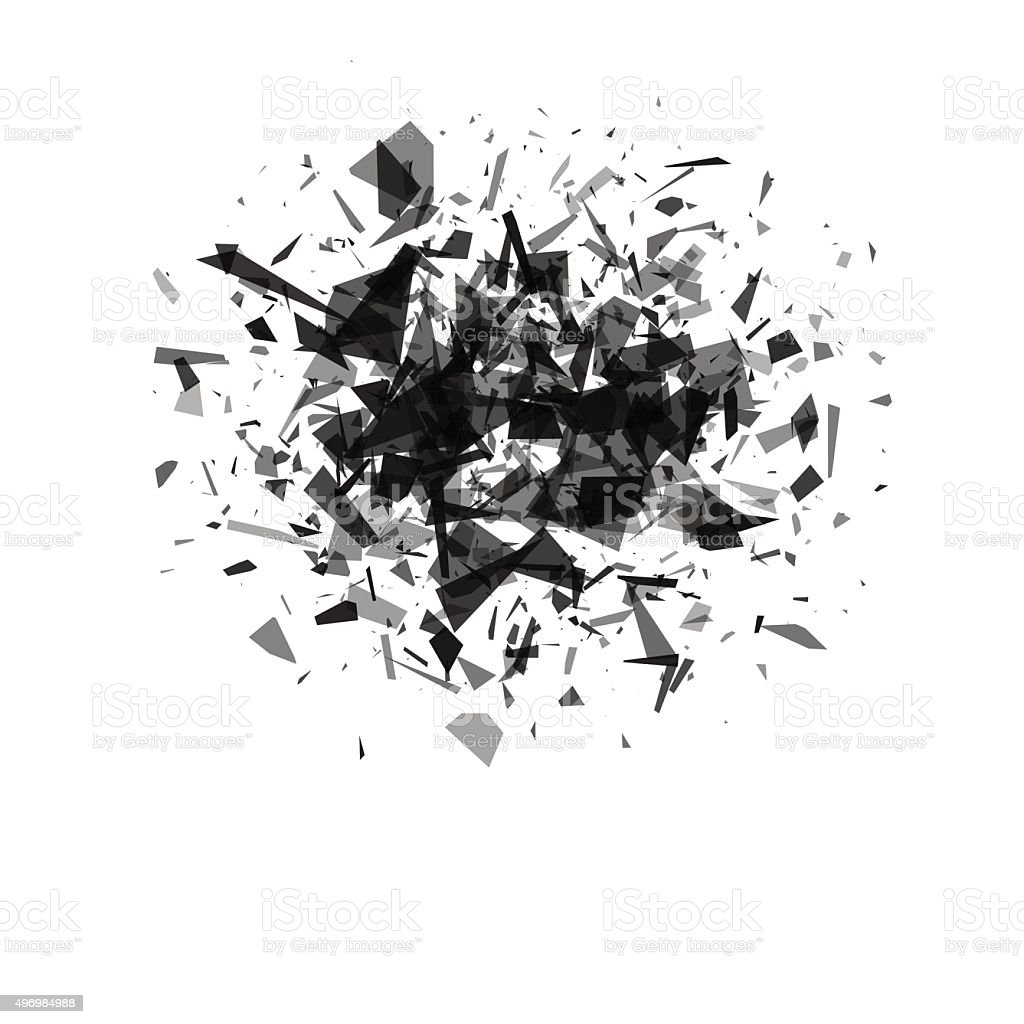 explosion cloud of black pieces on white background. vector art illustration