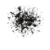 explosion cloud of black pieces on white background.