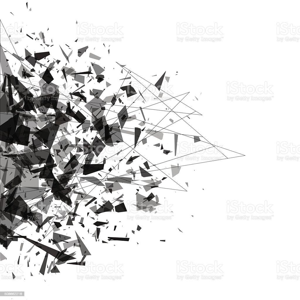 Explosion of black shards. Shatter vector vector art illustration