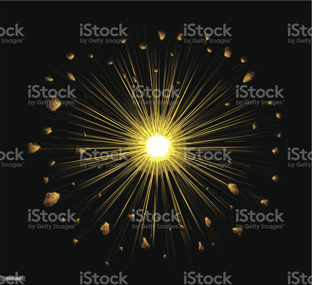 Explosion on black vector art illustration