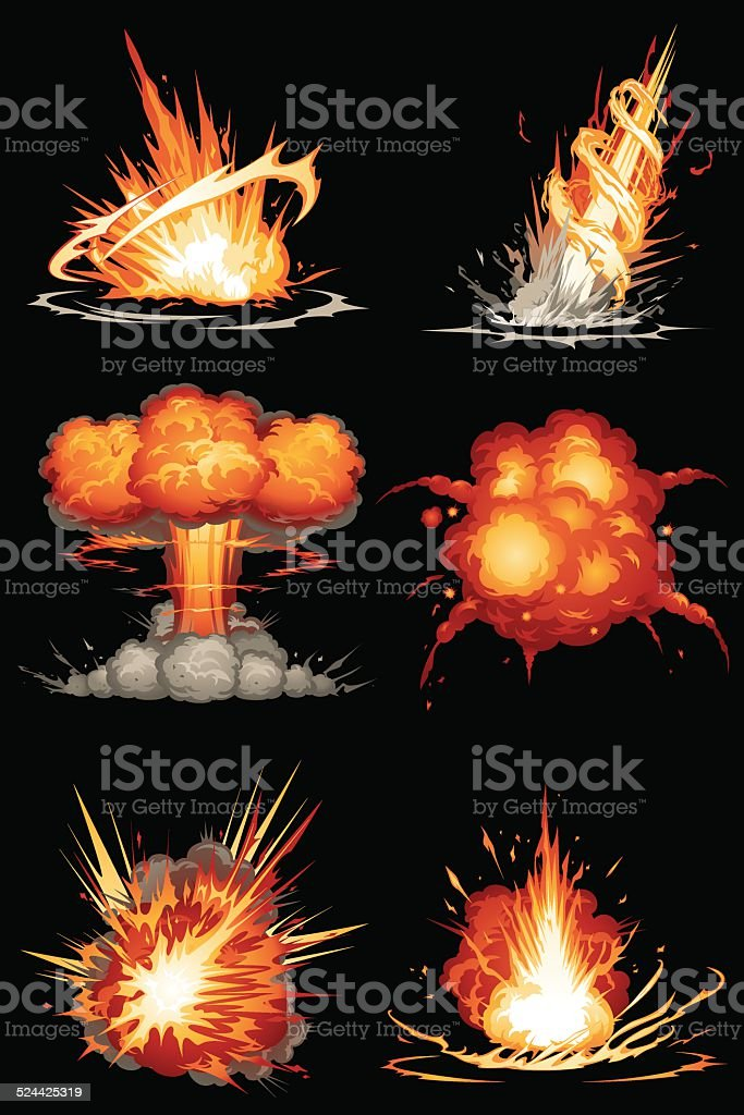 Explosions 01 vector art illustration