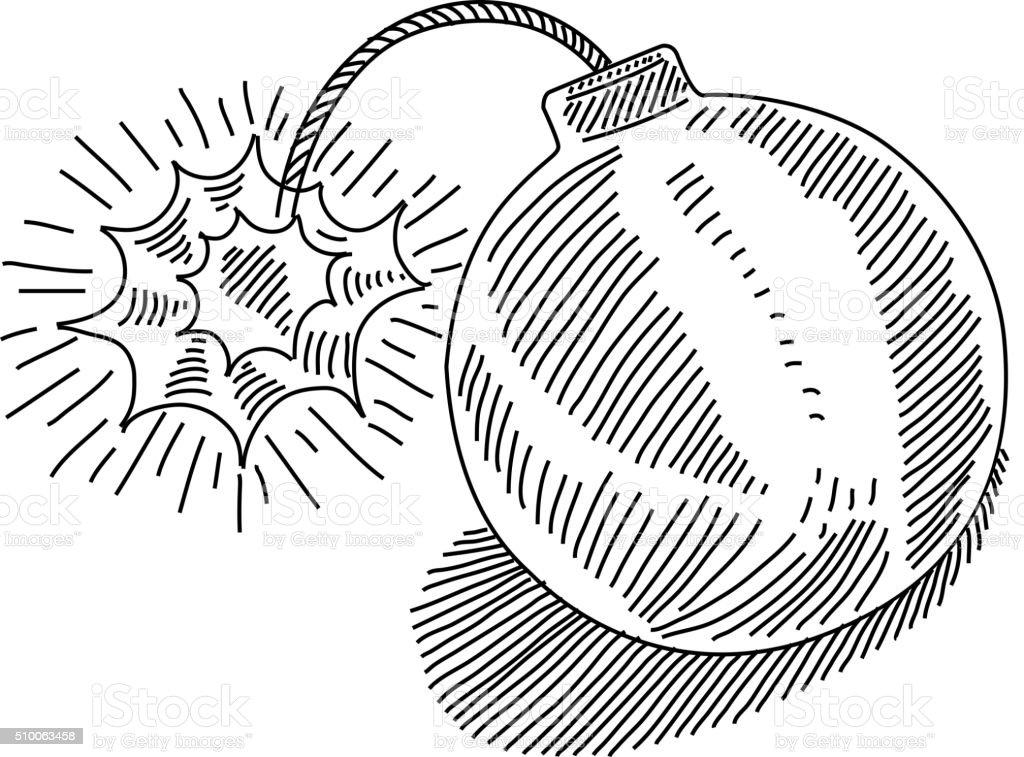 Explosive Bomb Drawing vector art illustration