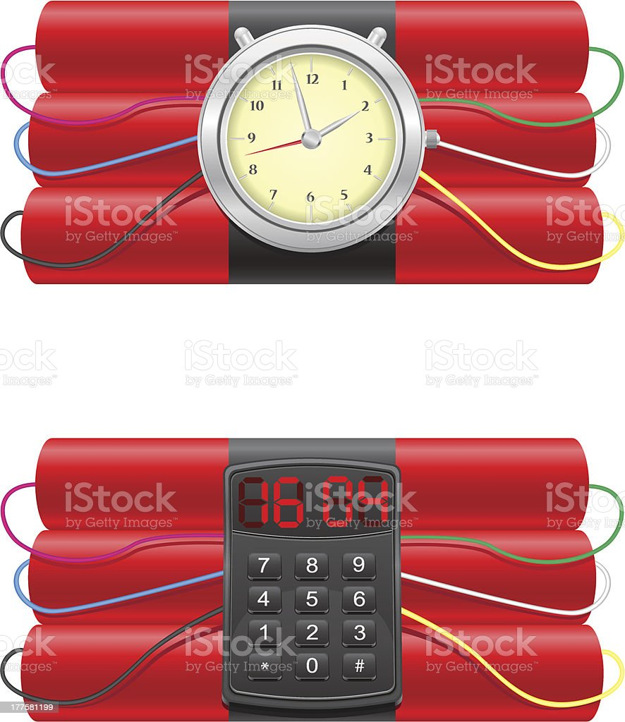 explosive dynamite and clockwork vector illustration royalty-free stock vector art