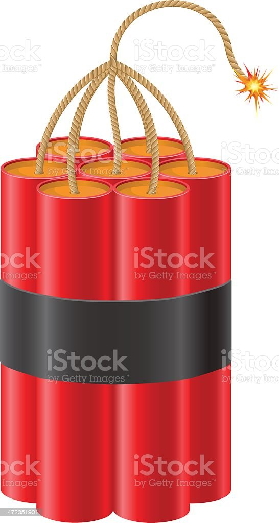 explosive dynamite with a burning fuse vector illustration royalty-free stock vector art