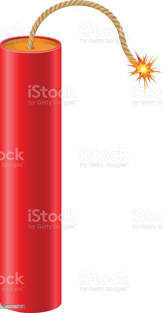 explosive dynamite with a burning fuse vector illustration vector art illustration