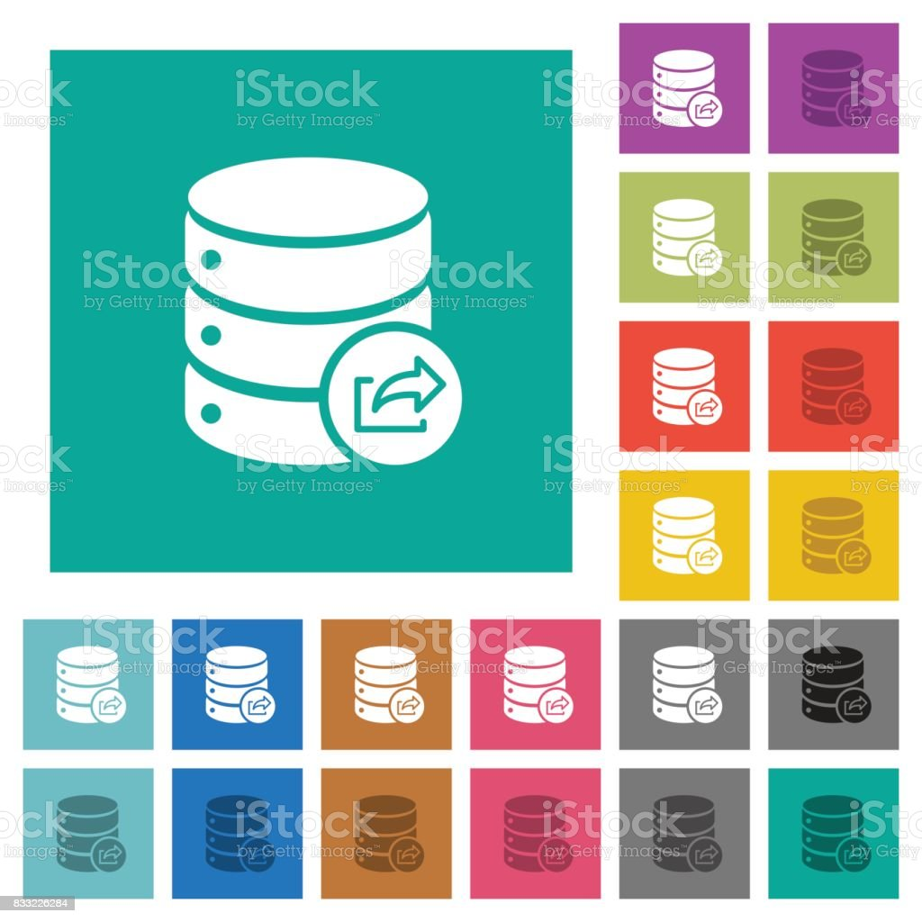 Export database square flat multi colored icons vector art illustration