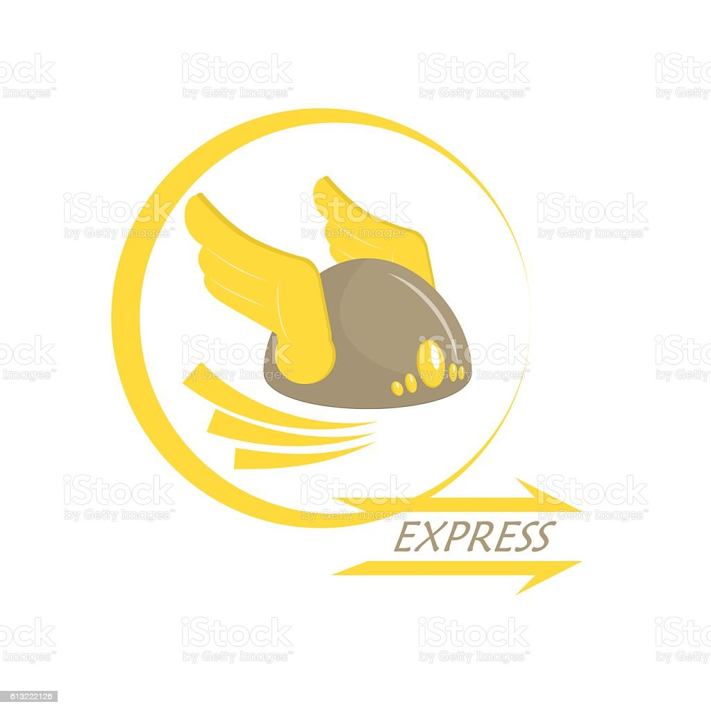 Express delivery. Metaphor. Icon with wings on his helmet. Armor. vector art illustration