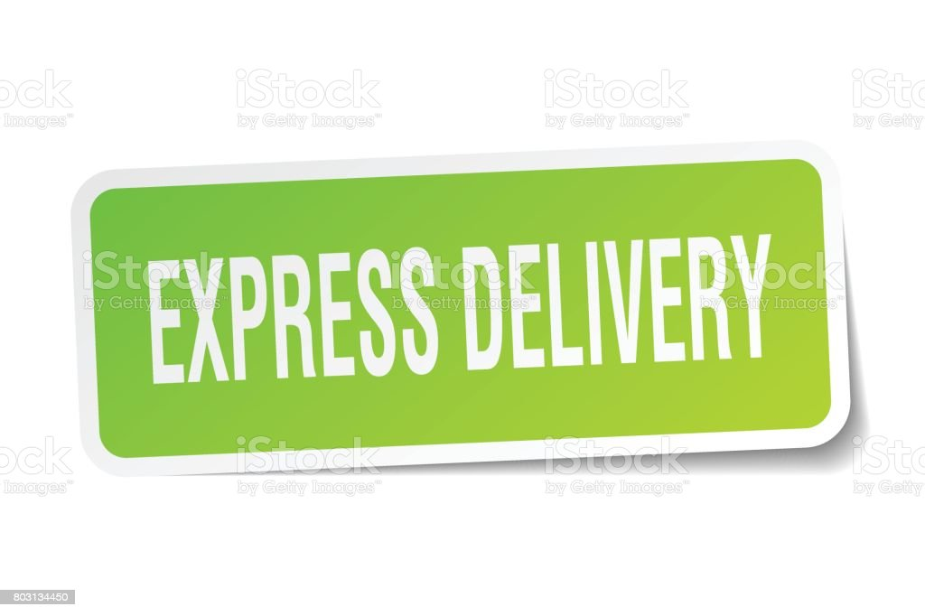 express delivery square sticker on white vector art illustration