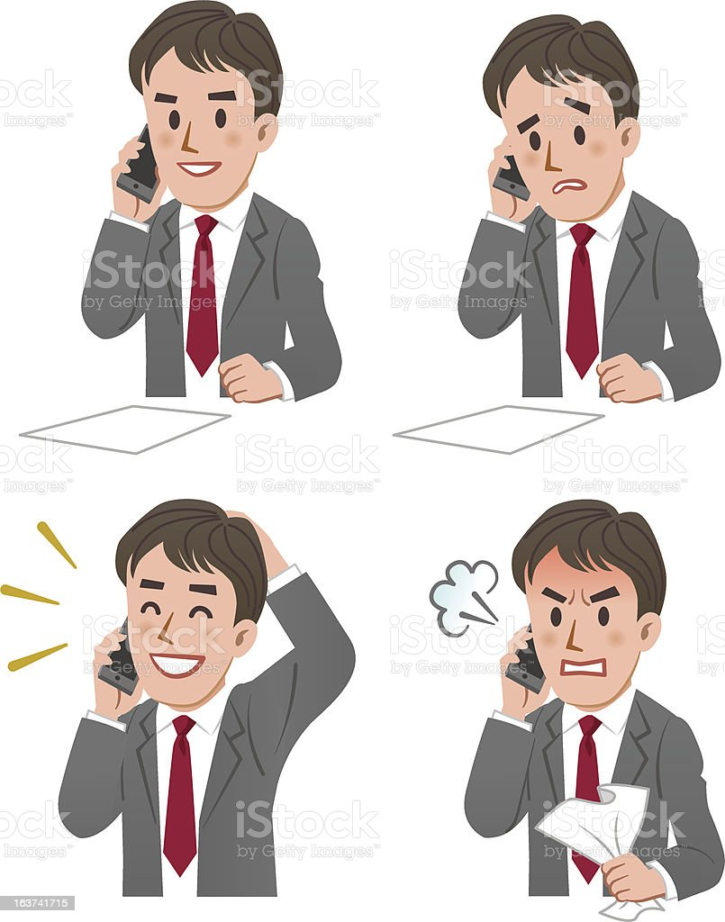 expression of Businessman talking on the phone vector art illustration
