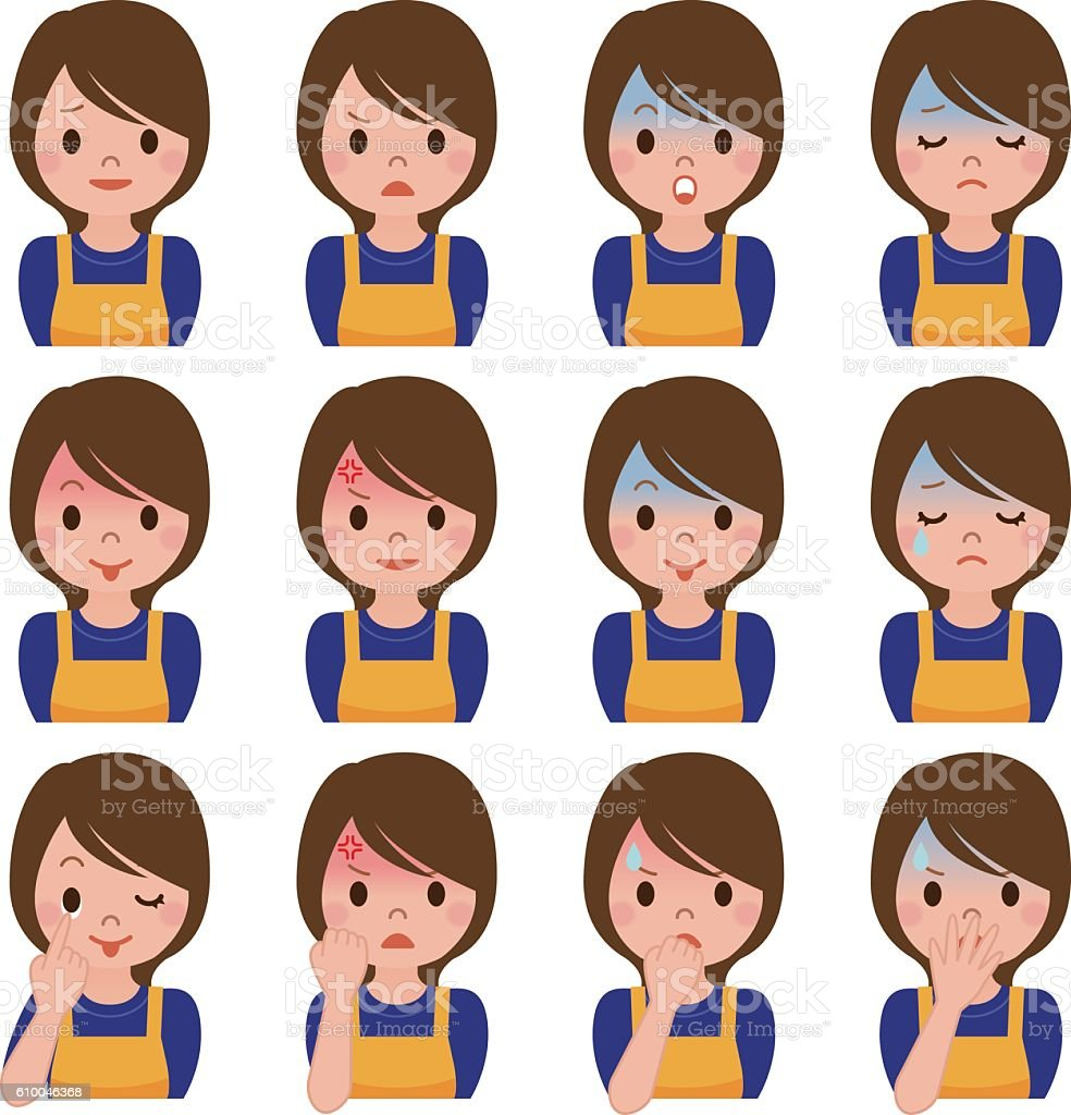 Expression of multiple housewife vector art illustration