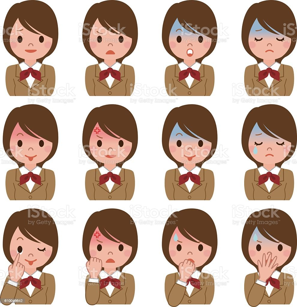 Expression of multiple schoolgirl vector art illustration