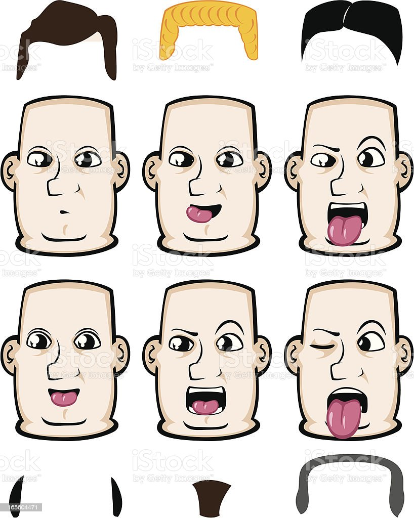 Expressions - making faces royalty-free stock vector art