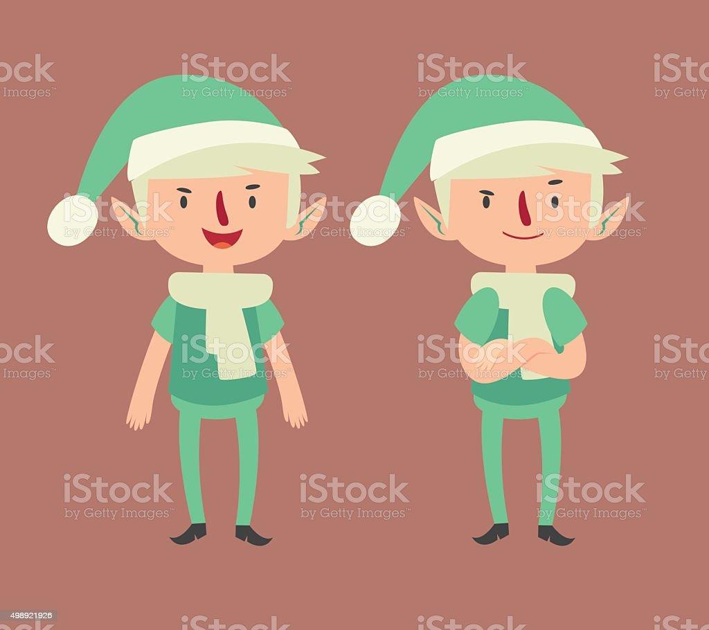 Expressive Elf in Different Poses vector art illustration