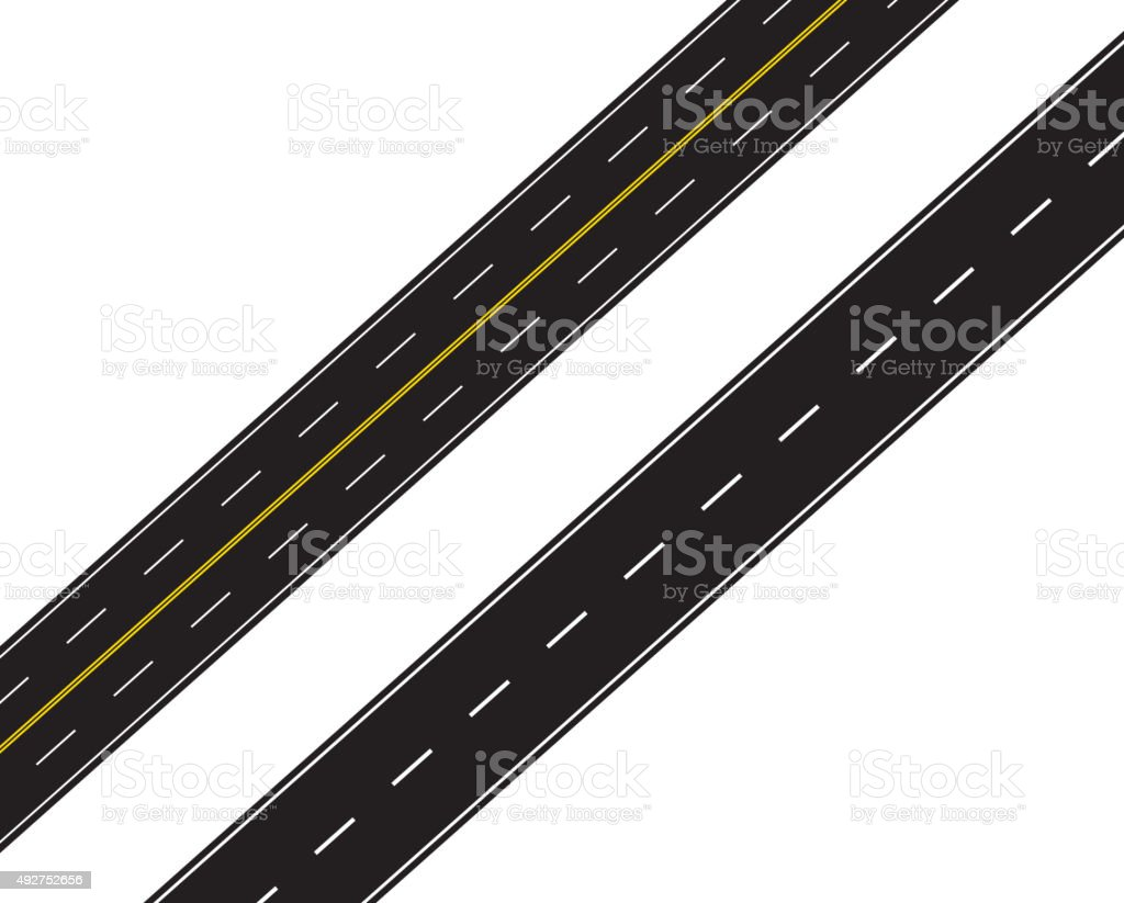 Expressway and ordinary highway vector art illustration