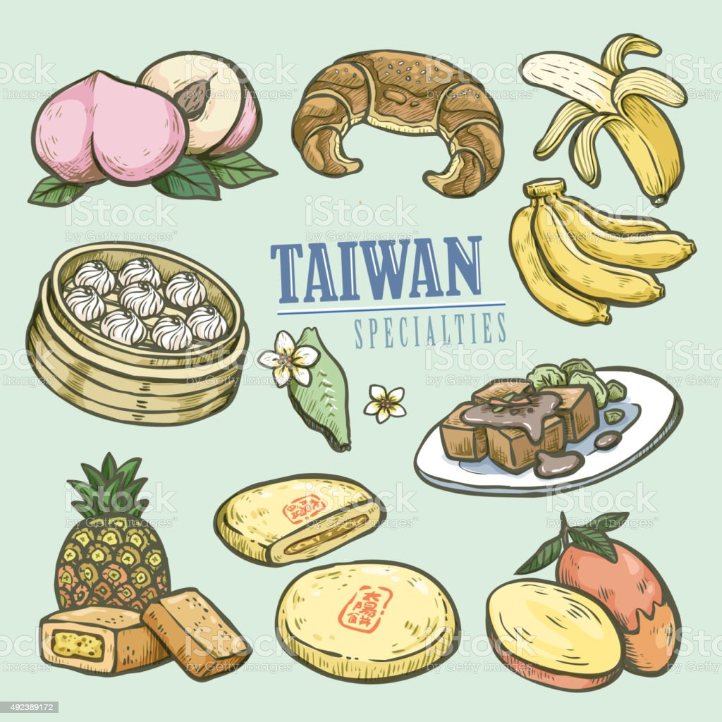exquisite Taiwan specialties collection vector art illustration