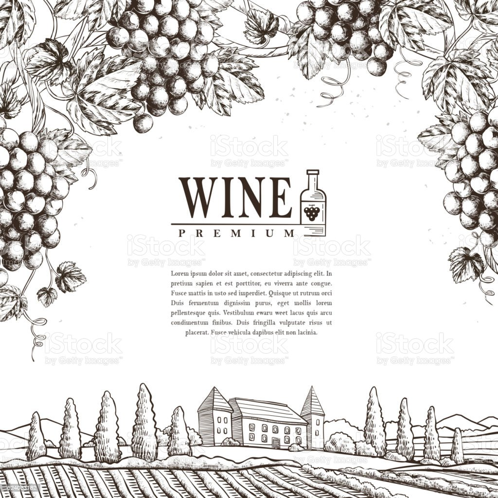exquisite winery poster design vector art illustration