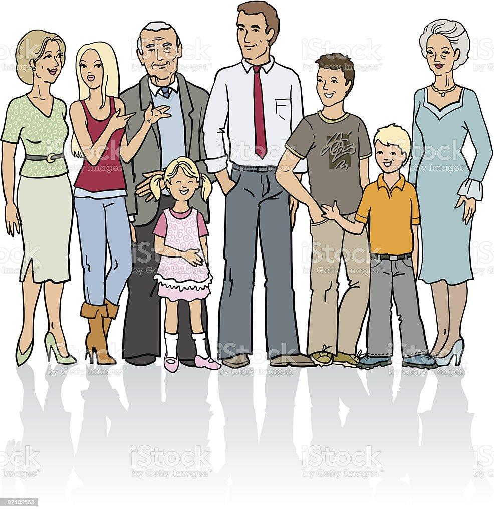 Extended family vector art illustration