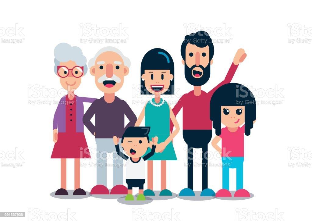 Extended Family - White background vector art illustration