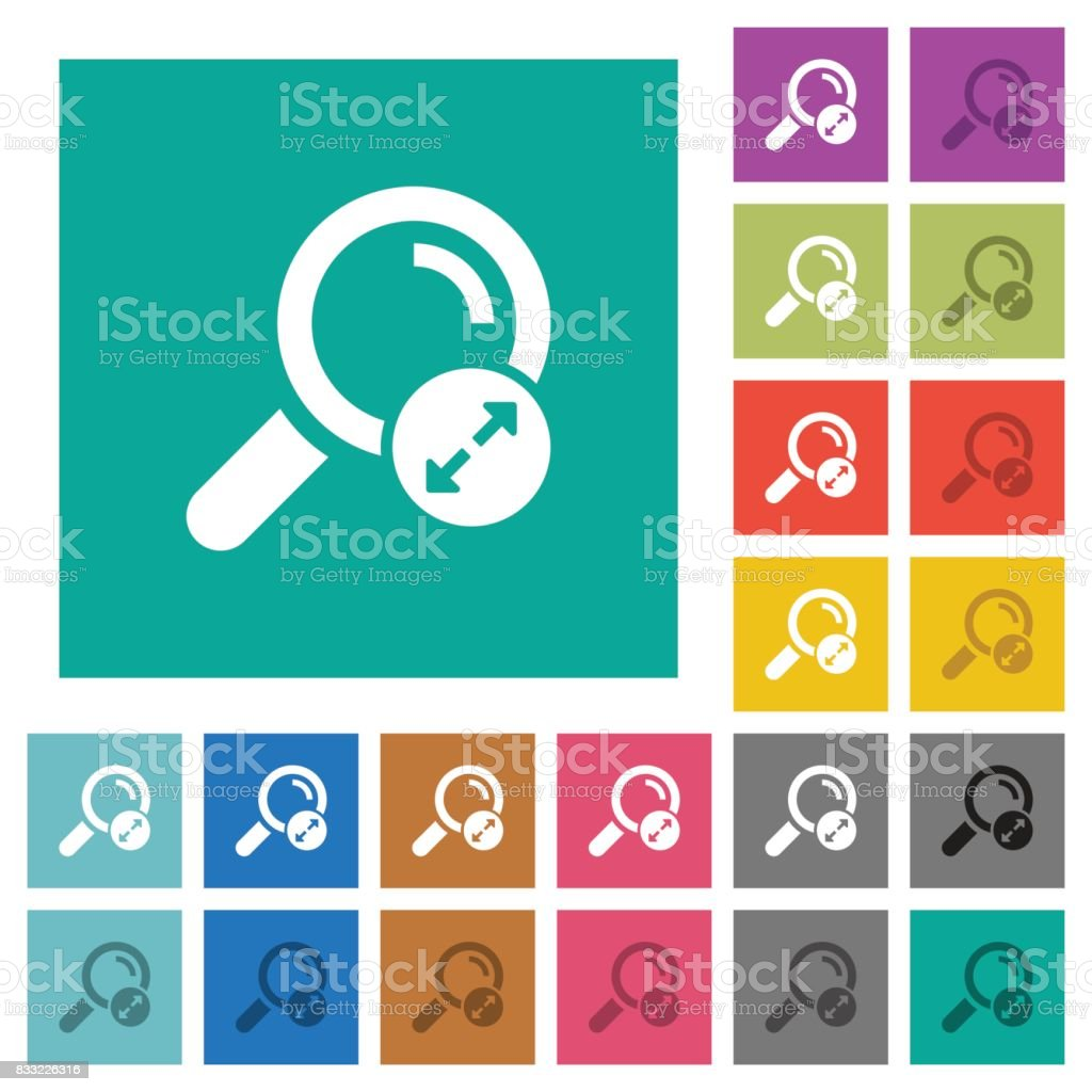 Extending search results square flat multi colored icons vector art illustration