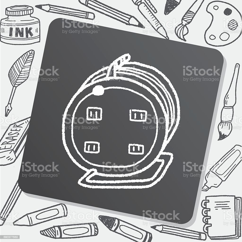 Extension cord doodle vector art illustration