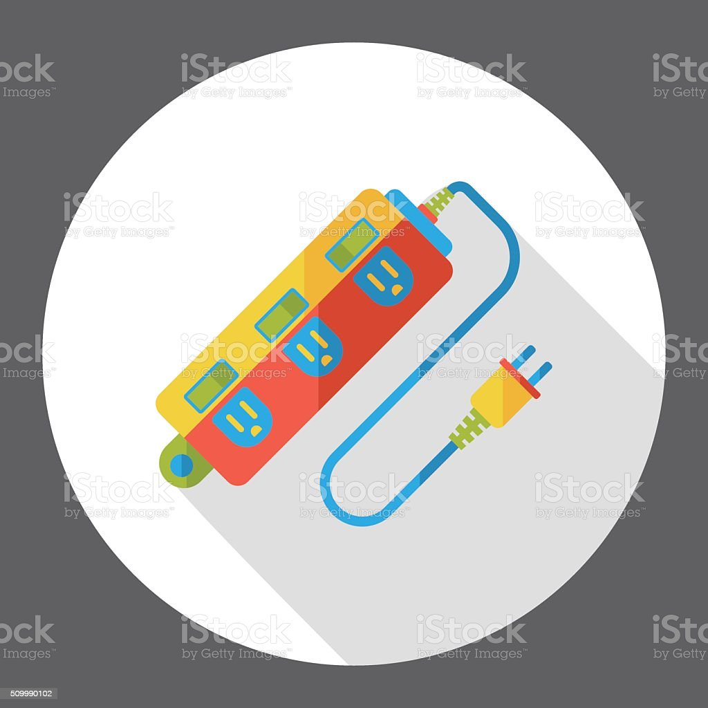 Extension cord flat icon vector art illustration