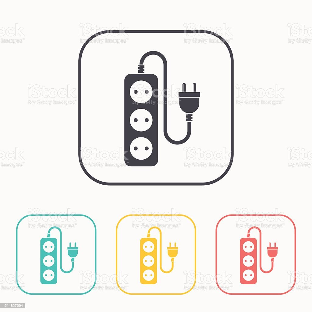 extension cord icon color set vector art illustration