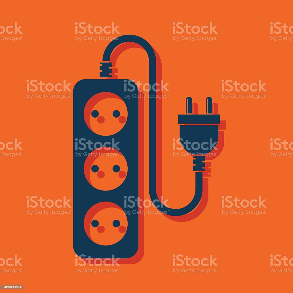 extension cord icon vector art illustration