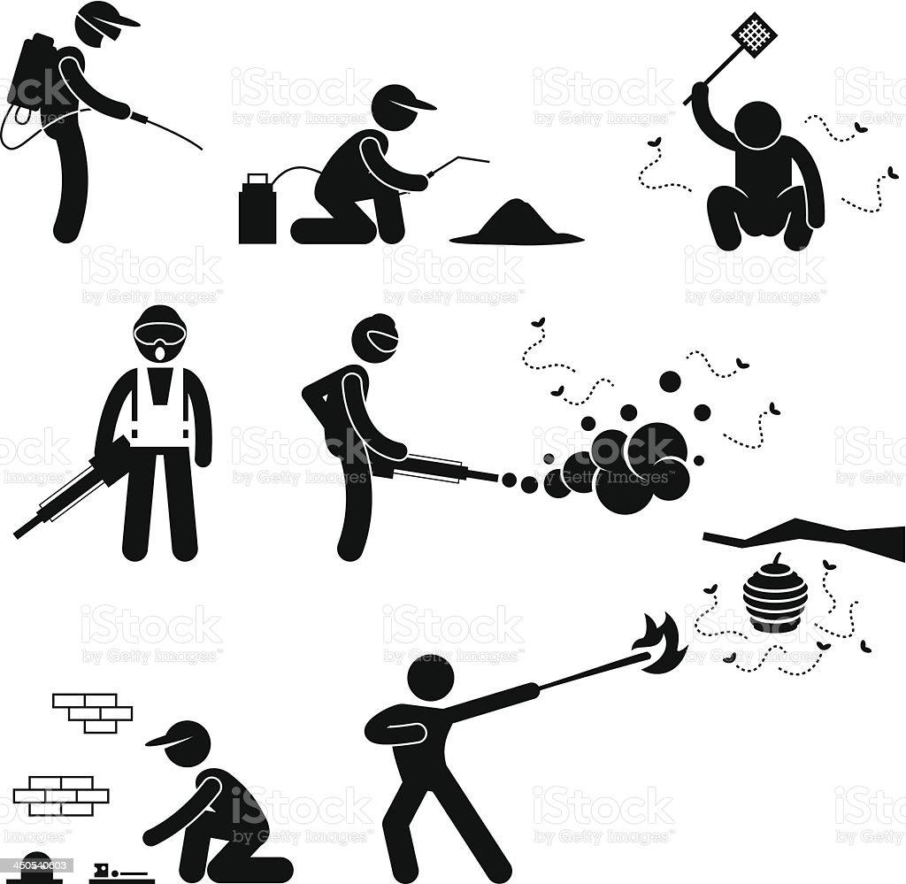 Exterminator Pest Control Pictogram vector art illustration