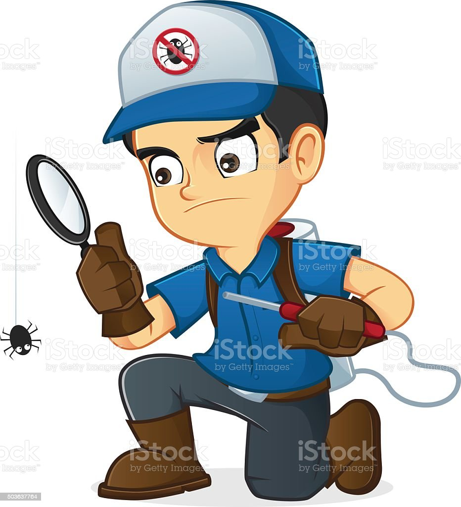 Exterminator searching for bugs and kill them vector art illustration