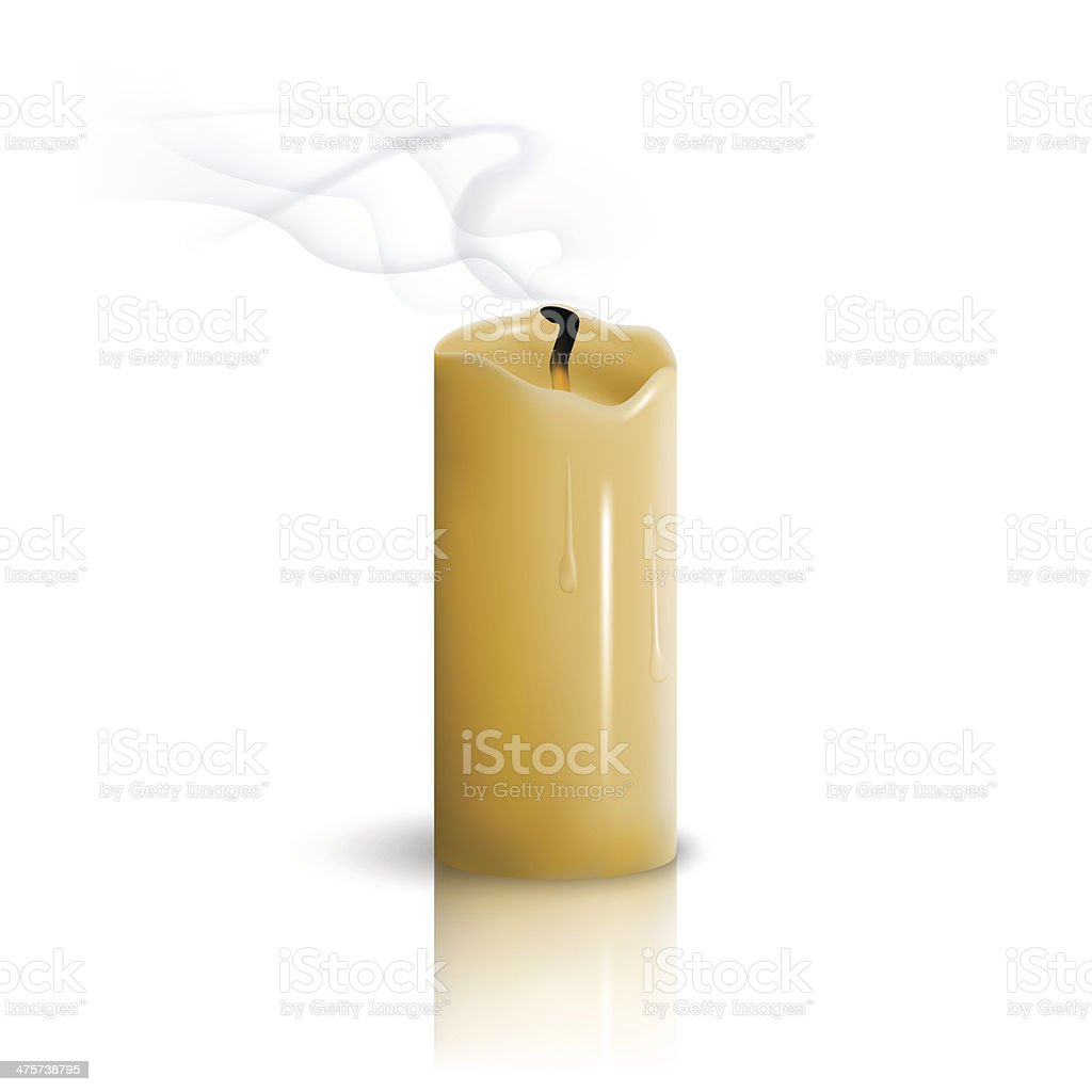 Extinguished candle vector art illustration