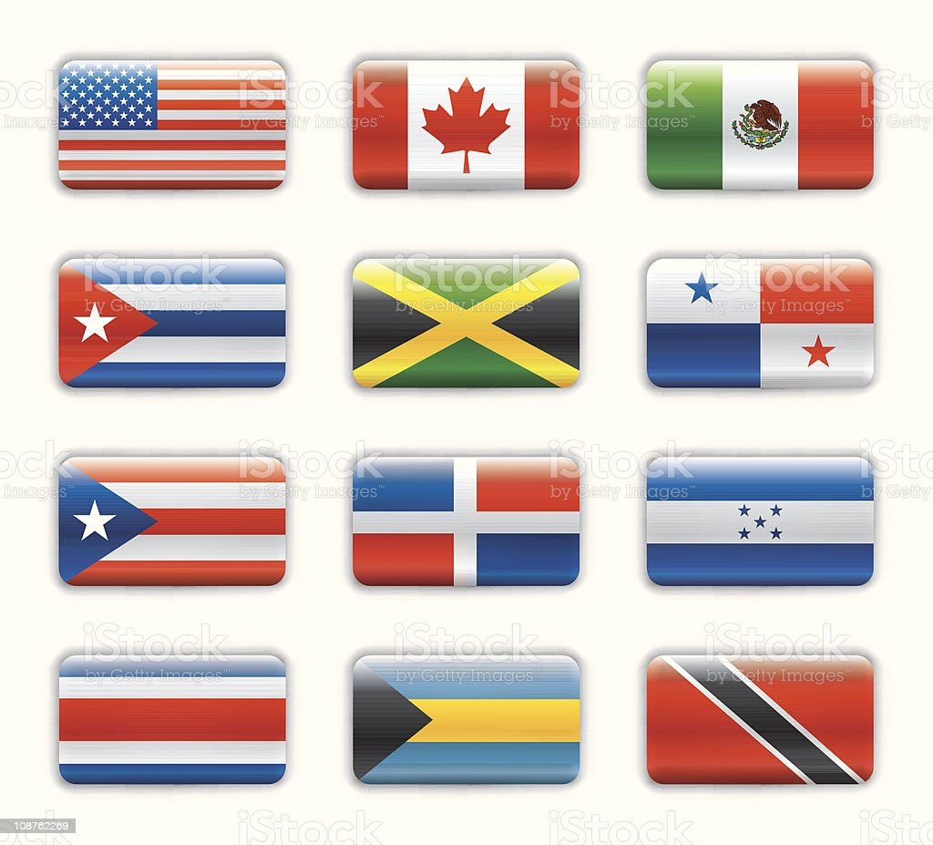 Extra glossy flags - Northern & Central America royalty-free stock vector art