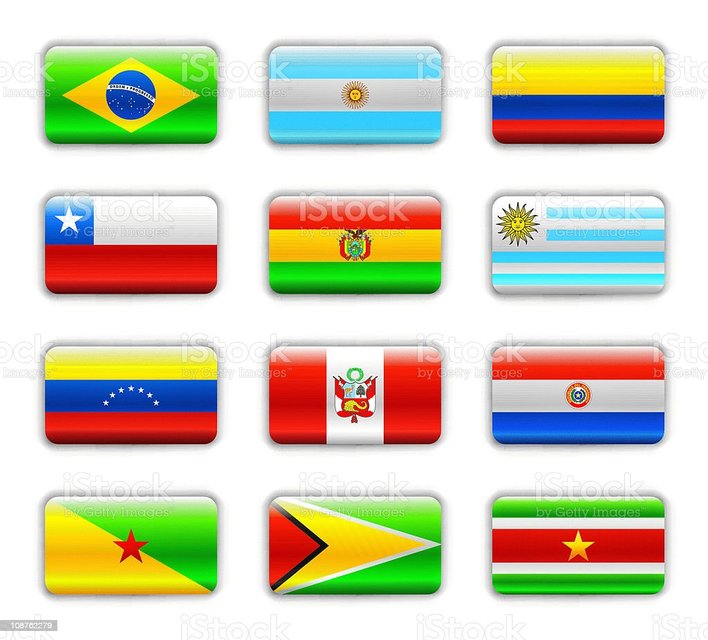 Extra glossy flags - Southern America royalty-free stock vector art