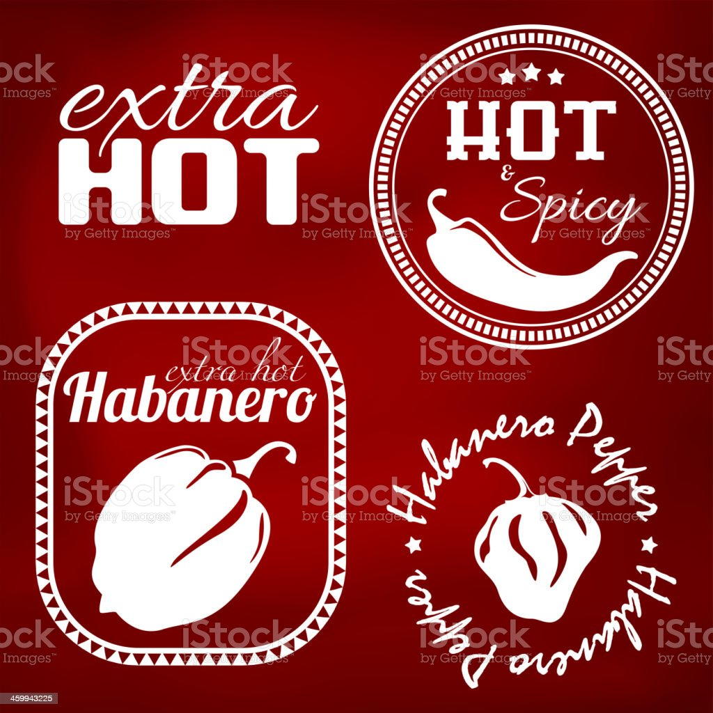 Extra hot pepper labels royalty-free stock vector art