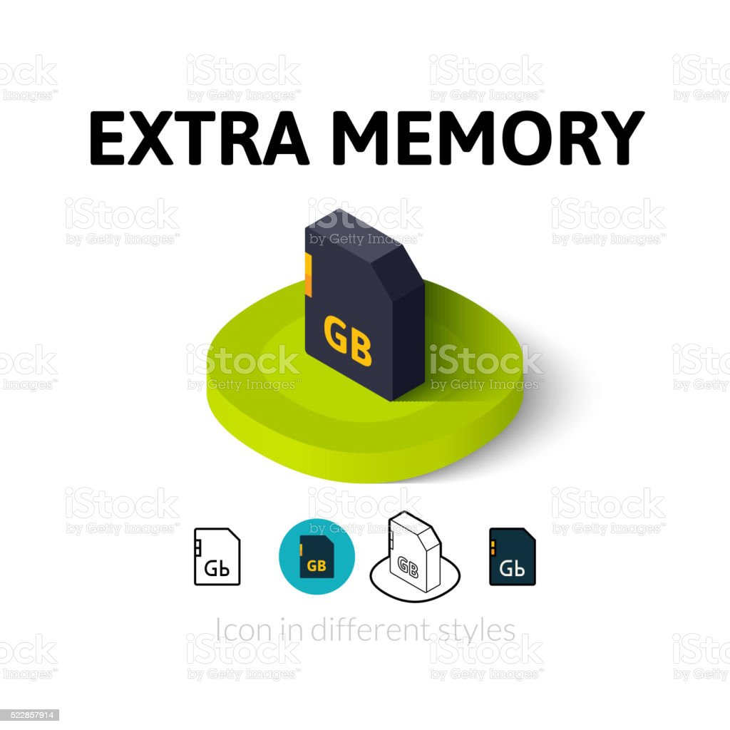 Extra memory icon in different style vector art illustration