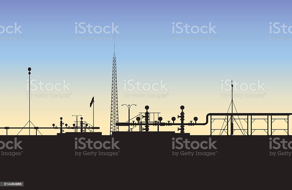 Extraction of natural gas (The Middle East) vector art illustration