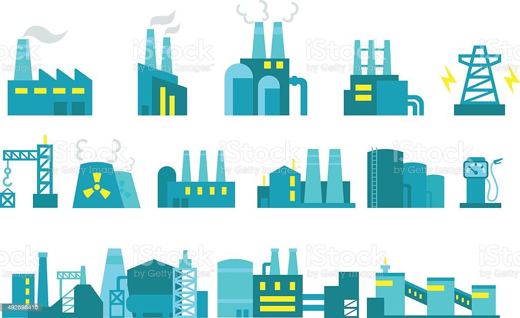 Extraction petroleum. Set of factory illustration oil production vector art illustration