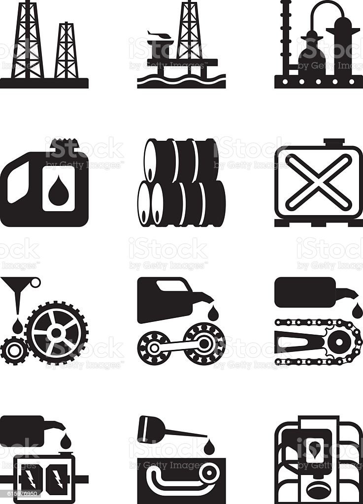 Extraction processing and use of lubricants vector art illustration