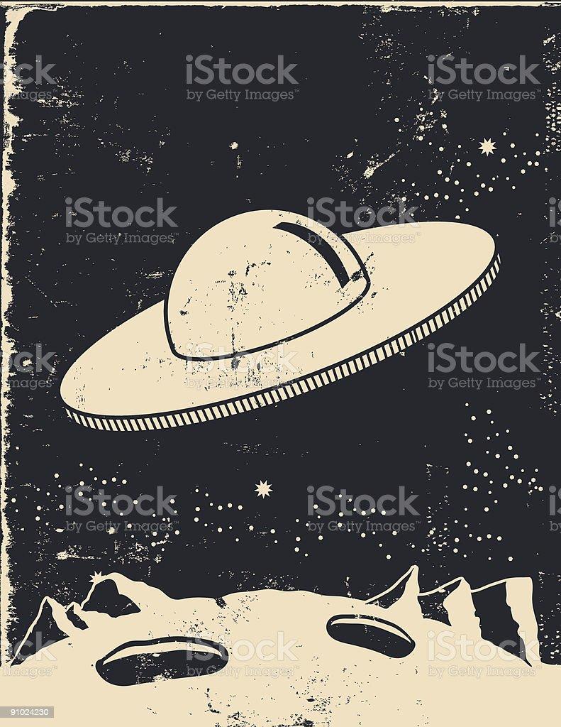 Extraterrestrial landing vector art illustration